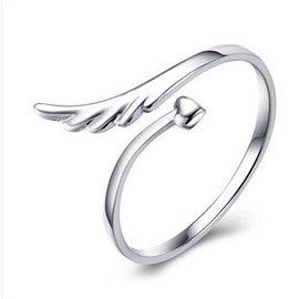 日韓 館 天使翅膀開口指環 飾品潮女款可愛戒指 韓國新品愛心開口可調戒指韓系首飾  銀飾