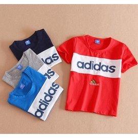 Adidas 中大童大碼寬鬆純棉短袖T恤 圓領純棉T 男女童 夏薄款奧代爾休閒打底汗衫 百