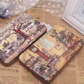 幾米漫畫大樹下的兒童歡樂世界女士牛皮中長款飯盒拉鏈錢包皮夾
