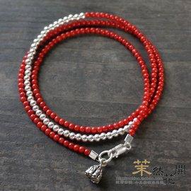 茉~原創 紅珊瑚手鏈 女款多層手串925純銀銀珠極細2MM飾品