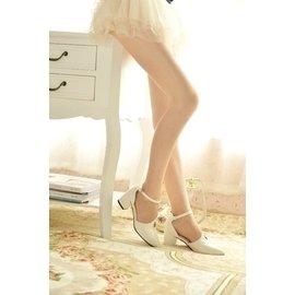 公主春夏 爆款女鞋 尖頭中跟側空漆皮涼鞋粗跟平底單鞋女鞋