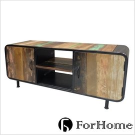 ^~ ForHome ^~ TA~377 LOFT 復古 實木鐵件櫃 舊式 雙開門 彩繪