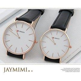 ~JAYMIMI傑米~CURREN 兩支免 韓國直送超薄無秒針 真皮皮帶手腕錶 款 對錶~