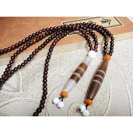 馬獅麟印度小葉紫檀念珠108粒 配旁繫三色線天珠掛件吊墜項鏈