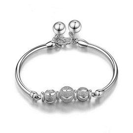 銀飾 女性純銀手鐲轉運珠鈴鐺手環S990足銀手鐲送女友銀鐲子