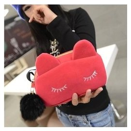 ^(^)New Fashion^~ 潮女化妝包可愛貓咪零錢包手拿女包手抓小包包