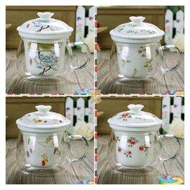 陶瓷玻璃杯保溫杯帶蓋茶杯加厚耐熱過濾馬克杯透明水杯子花茶杯子