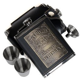 正品貼片傑克丹尼8盎司加厚304不鏽鋼酒壺隨身便攜 套裝包郵