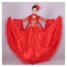 民族合唱演出服裝 女長裙 開場舞蹈服裝大擺裙表演服飾紅藍黃色