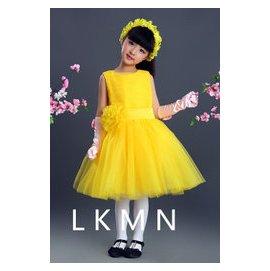 黃色兒童演出服女童公主裙蓬蓬裙聖誕節表演服兒童主持人禮服