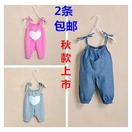 外貿秋裝女寶寶牛仔連體褲純棉兒童背帶褲女童弔帶長褲123歲開襠