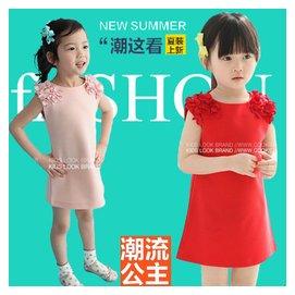 寶寶夏裝薄款女童連衣裙兒 1中大童2純棉3紅色4歲全棉布短裙子