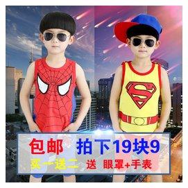 背心2015 男童夏裝套裝中大童女童兒童超人短褲 兩件套