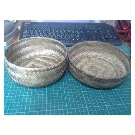 懷舊^~竹編 籃子~約直徑20cm高9cm 老件 兩個合售 可合成一個盒子~CS超聖文化