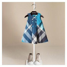 外貿童裙 2015 女童連衣裙純棉女孩裙雙排扣兒童背心格子裙