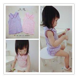 15年夏 女寶寶幼兒女童娃娃領T恤衫全棉透氣薄款襯衣無袖上衣