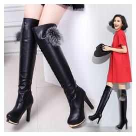 鼕季性感真皮粗跟過膝長靴超高跟瘦腿靴防水臺高筒靴馬靴長筒靴女