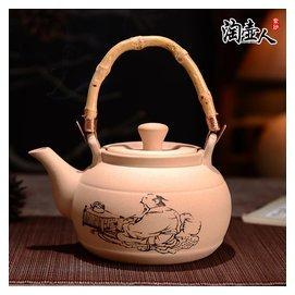 大容量宜興 白泥紫砂茶壺 700ml提梁養生壺煮水壺橫側把燒水壺