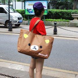 超大容量卡通可愛小熊單肩女環保 收納旅行袋 帆布袋 媽咪包