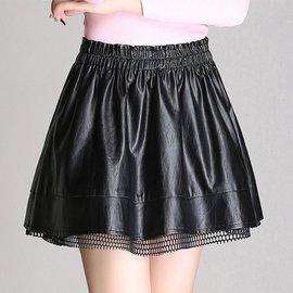 ~兩件~安澤蕊秋裝 皮裙半身裙顯瘦A字裙大碼PU皮短裙 傘裙