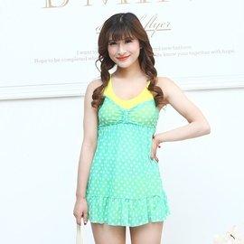 ~兩件~性感網紗圓點裙式連體女士游泳衣平角顯瘦遮肚保守韓國泳裝