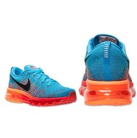 NIKE AIR MAX flyknit 飛織 彩虹編織 全氣墊輕量慢跑鞋 男生款紅橙 藍