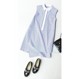 CHOCO SHOP 藍白條紋 不對稱剪裁裙擺 襯衫式洋裝  QMA0026