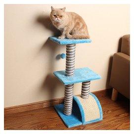 三層拱橋藍色貓爬架 貓樹劍麻磨爪貓抓柱貓跳台 寵物貓咪玩具用品