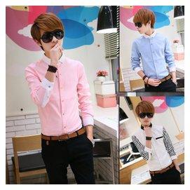 粉色襯衫男士長袖粉紅色襯衫男 修身商務 條紋秋天西服襯衣