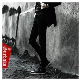 Gurbaks潮男秋鼕黑色加絨牛仔褲男士 修身小腳褲子男緊身靴褲