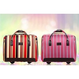 七彩條紋帆布拉桿箱18寸登機箱復古可愛女旅行箱拉桿包