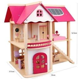 樂媽小鋪~~木製粉色娃娃屋 扮家家酒 居家櫥窗擺設 組裝房屋 模型 角色扮演