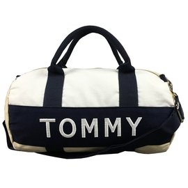 【TOMMY HILFIGER】女款旅行袋圓筒(小)藍白卡其 F07150125-14
