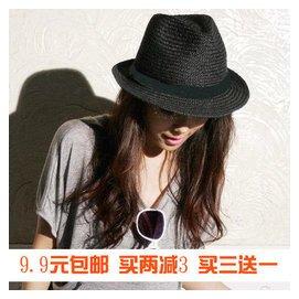 潮男女士草帽爵士帽英倫女帽子禮帽遮陽帽情侶沙灘帽包郵