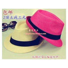 潮男女草帽爵士帽英倫風春夏天帽子禮帽情侶太陽帽沙灘遮陽帽