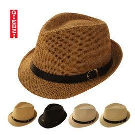 爵士帽 夏天潮男遮陽帽 皮扣草帽出遊防曬帽 情侶沙灘帽子