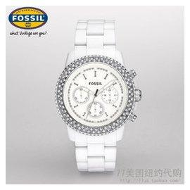 ~秋葉小舖~美國正品 化石Fossil CH2671 樹脂白色三眼鑲鑽手表女表 包稅