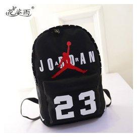 花姿雨 潮流喬丹雙肩包 帆布旅行雙肩包男女卡通籃球背包防水書包 黑色