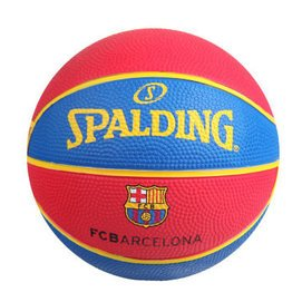 斯伯丁籃球隊徽繫列桌面擺設球賞迷你兒童橡膠籃球1號球65~851 巴塞羅那隊徽^(送3 ^