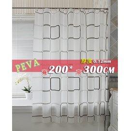 ~喨晶晶雜貨舖~PEVA黑白方格加厚浴簾防水簾加金屬扣送白色C型塑膠掛勾 200^~300