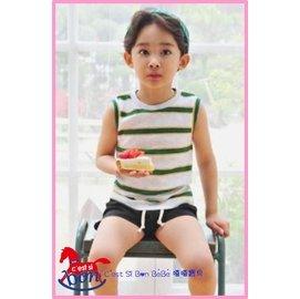 ^~夏日 感恩慶^~ 大 ^~^~ ^~嘻嘻寶貝^~ ^#韓國 ^#條紋針織背心 ~ 米白