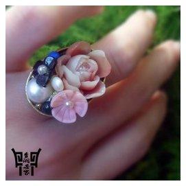 青銅世家原創 民族風飾品瑪瑙景泰藍戒指食指中指可調節指環女
