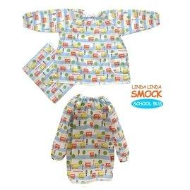 給力 ~韓國 FUNNIMALS 兒童 雨衣 畫畫衣 兩用 長版 長袖圍兜 ~ 校車巴士