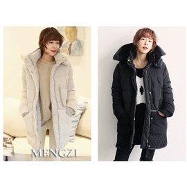 100^%白鴨絨填充 羽絨外套 女禦寒外套 軍裝 大尺寸 加絨羊羔毛 中長款加厚長大衣 保