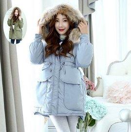 羽絨外套女裝 中長款 真毛領連帽 輕盈保暖 修身外套 防風外套 風衣 4色 8824