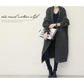 正韓空運 女裝寬松大 加厚長款針織開衫長袖毛衣外套 披風 大衣外套 長外套  2029