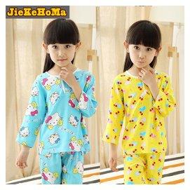 兒童睡衣 男童家居服女童夏裝綿綢薄長袖 寶小孩空調服套裝