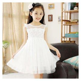 女童連衣裙2015夏款 中大童 無袖蕾絲公主裙子兒童白色紗裙