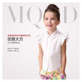 米奇丁當2015夏裝 上衣中大兒童襯衣女童翻領短袖繡花襯衫
