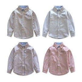 兒童長袖純棉襯衫 2014秋裝 潮 英倫男童上衣女童格子襯衣